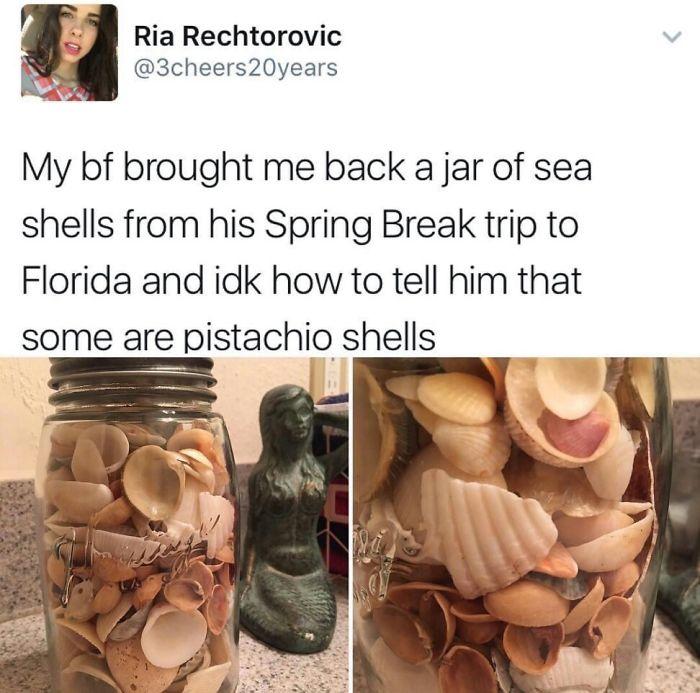 Mi novio me trajo un tarro de conchas marinas de su viaje a Florida y no sé cómo decirle que algunas son cáscaras de pistacho