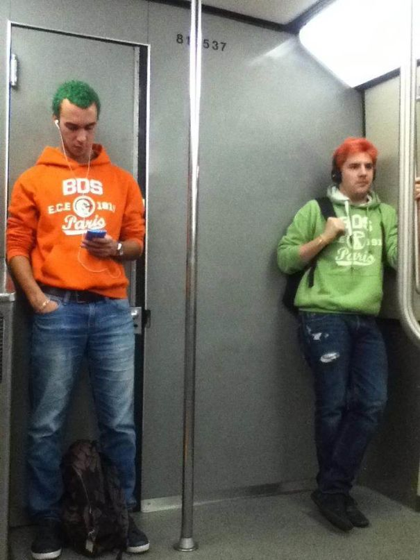 These Two Guys Entered The Metro From Different Stations And Don't Even Know Each Other. They Kind Of Fit Together