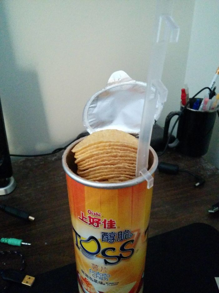 My Asian 'Pringles' Has A Tab To Lift The Chips Up So You Don't Have To Put Your Hand Inside The Tube