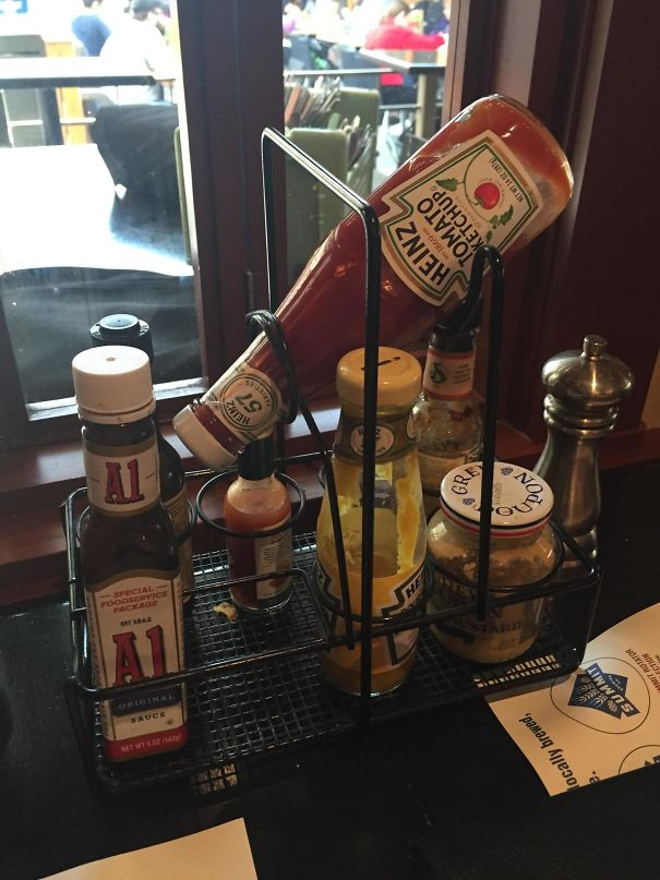 This Restaurant Tabletop Condiment Caddy Has A Special Holder To Make Sure The Ketchup Bottle Is Always Primed For Use