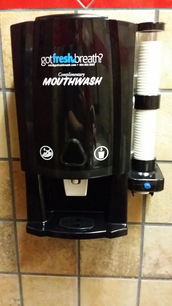 This Restaurant Had A Complementary Mouthwash Machine In The Bathroom