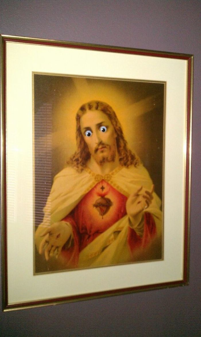 """Apparently Putting Googly Eyes On The Portrait Of Jesus My Parents Have Is """"Not Funny"""" And """"Blasphemous."""""""