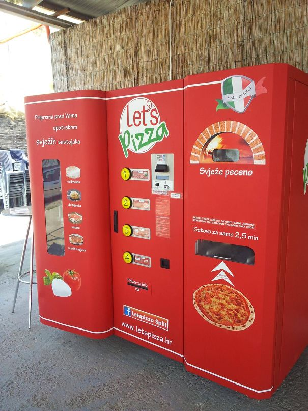 This Is A Pizza Vending Machine I Saw In Croatia. You Pick The Toppings And It Actually Bakes It For You Right There!