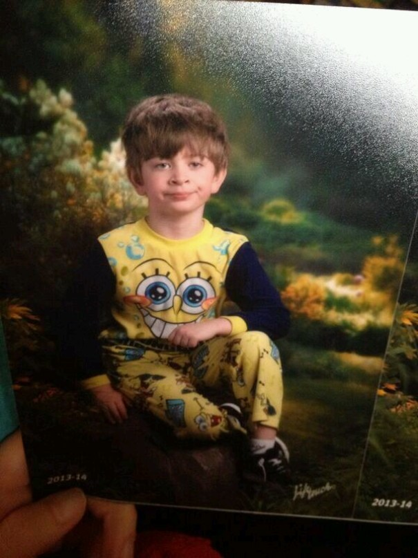 Friend's Mom Mixed Up Pajama Day And Picture Day. He Was Not Pleased