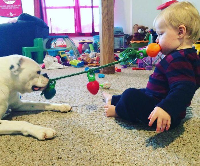 Mi sobrina jugando con el perro