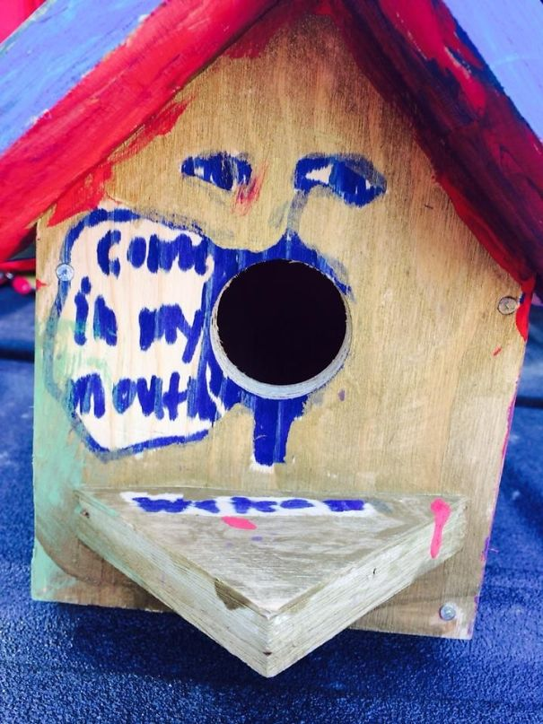 My Friend's Nephew Made This Birdhouse At Camp