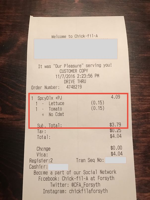Chick-Fil-A Doesn't Charge Customers For Ingredients That The Customers Don't Want