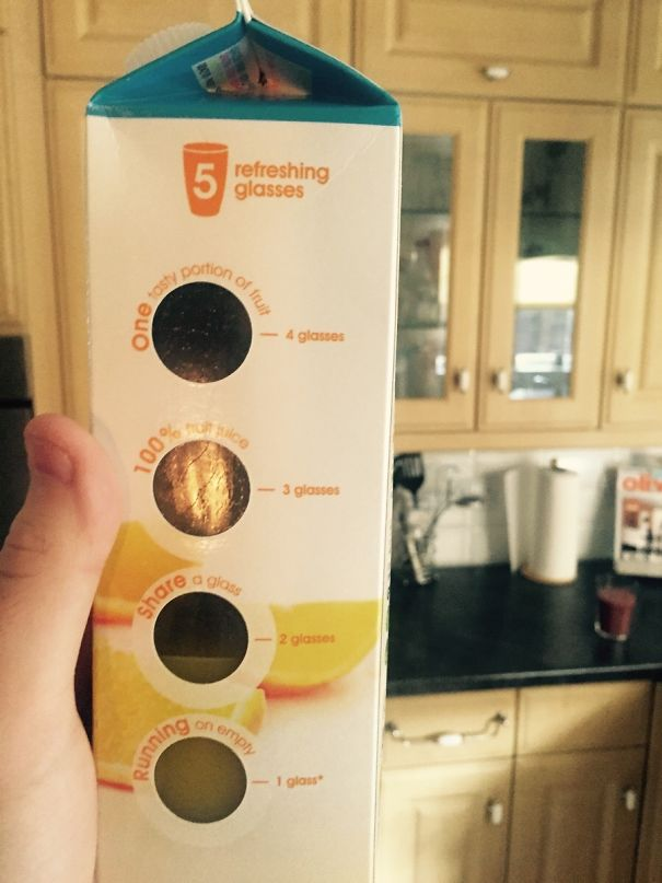 This Bottle Of Oj Lets You See How Many Glasses Are Left Inside