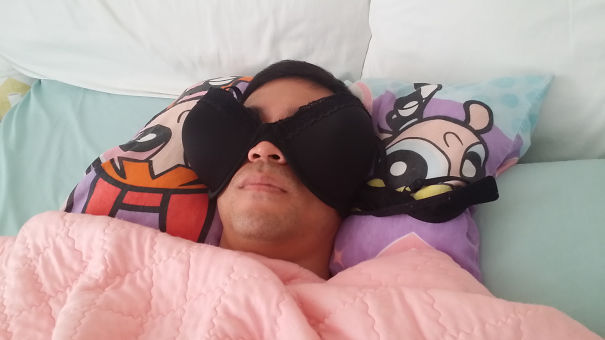 Bedroom Is Really Sunny In The Morning.  Found Husband Sleeping Like This
