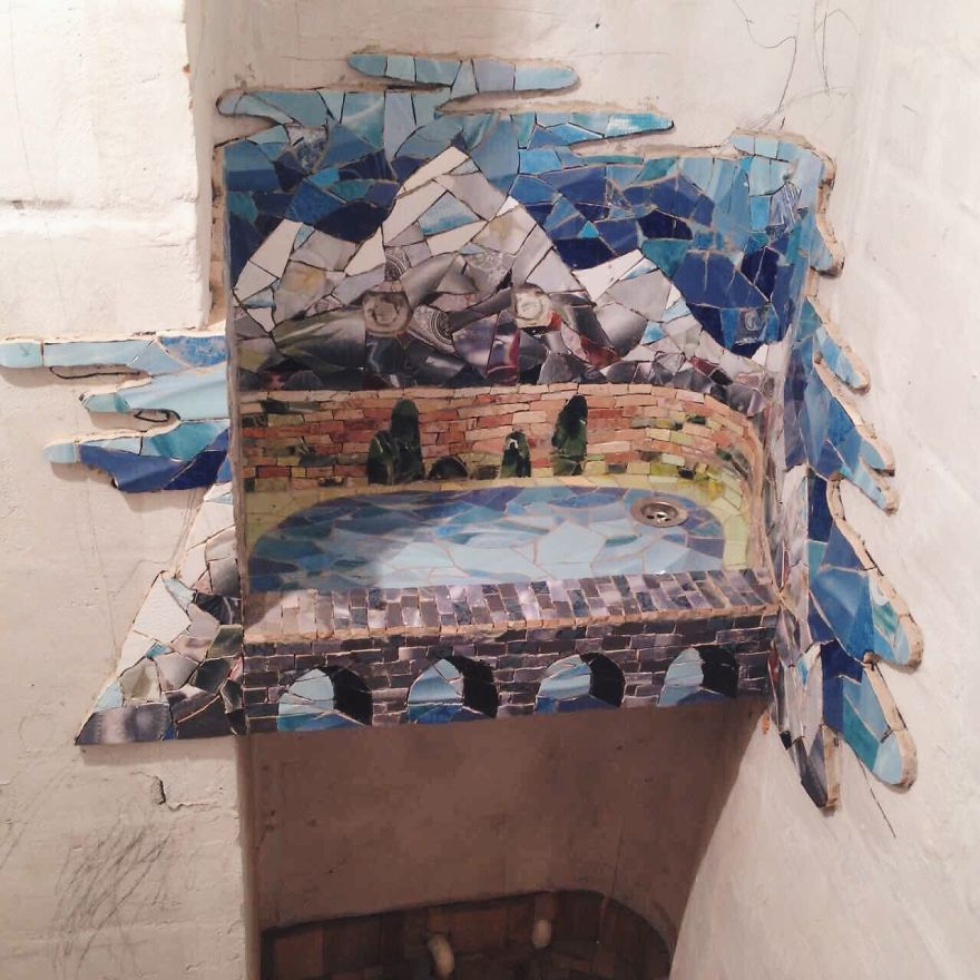 Mountain Sink: My Newest Mosaic For A Beauty Salon In Russia