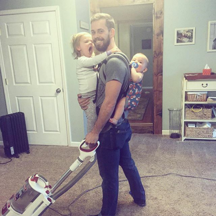 Husband And Dad Goals. He's The Real Deal... Just Let This All Soak In. Vacuuming, Baby Wearing, Holding Needy Toddler... Beard