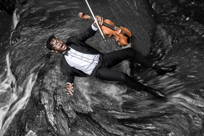 I Shot Creative Classical Portraits Of Classical Musicians At A Waterfall