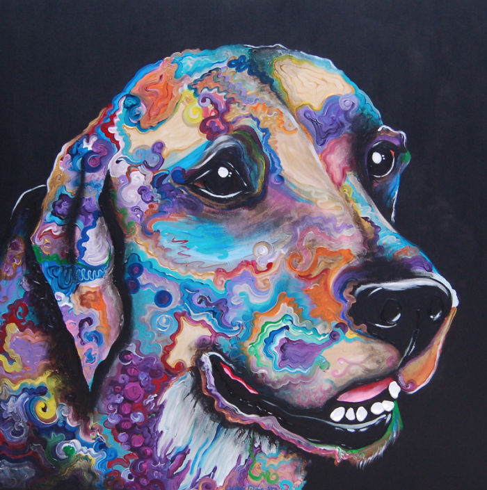 I Show My Love For Dogs By Painting Their Colorful Portraits