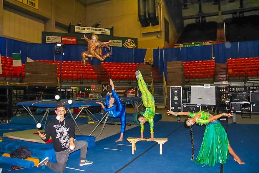 Sullivan Sports Arena, Anchorage~backstage With Artists From Cirque Du Soleil's Dralion In Alaska Before Our Last Show. Photo Credit: Rachel Sterner