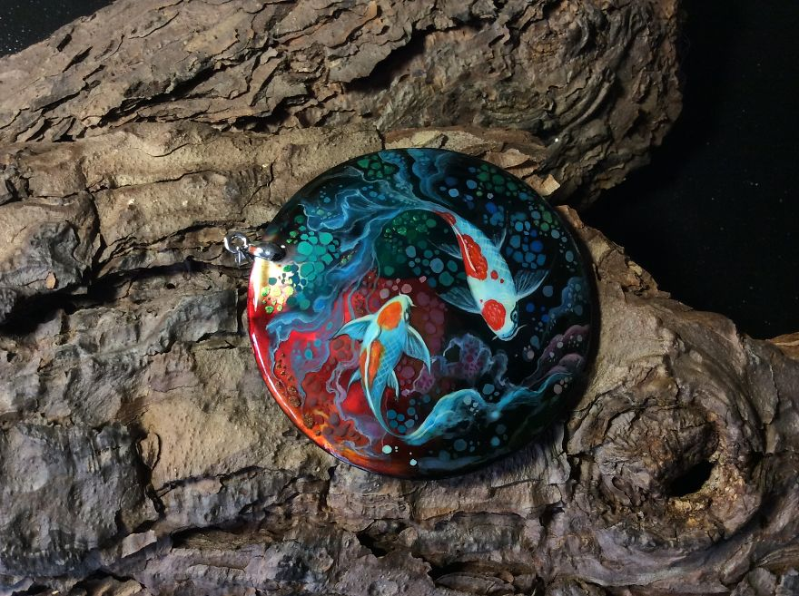 Dragons And Koi On Wood And Stone