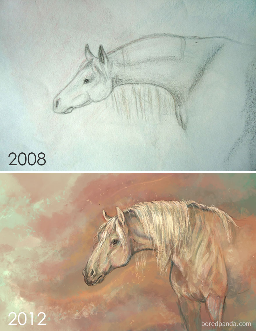 4 Years Progress Of Drawing A Horse By Tessa
