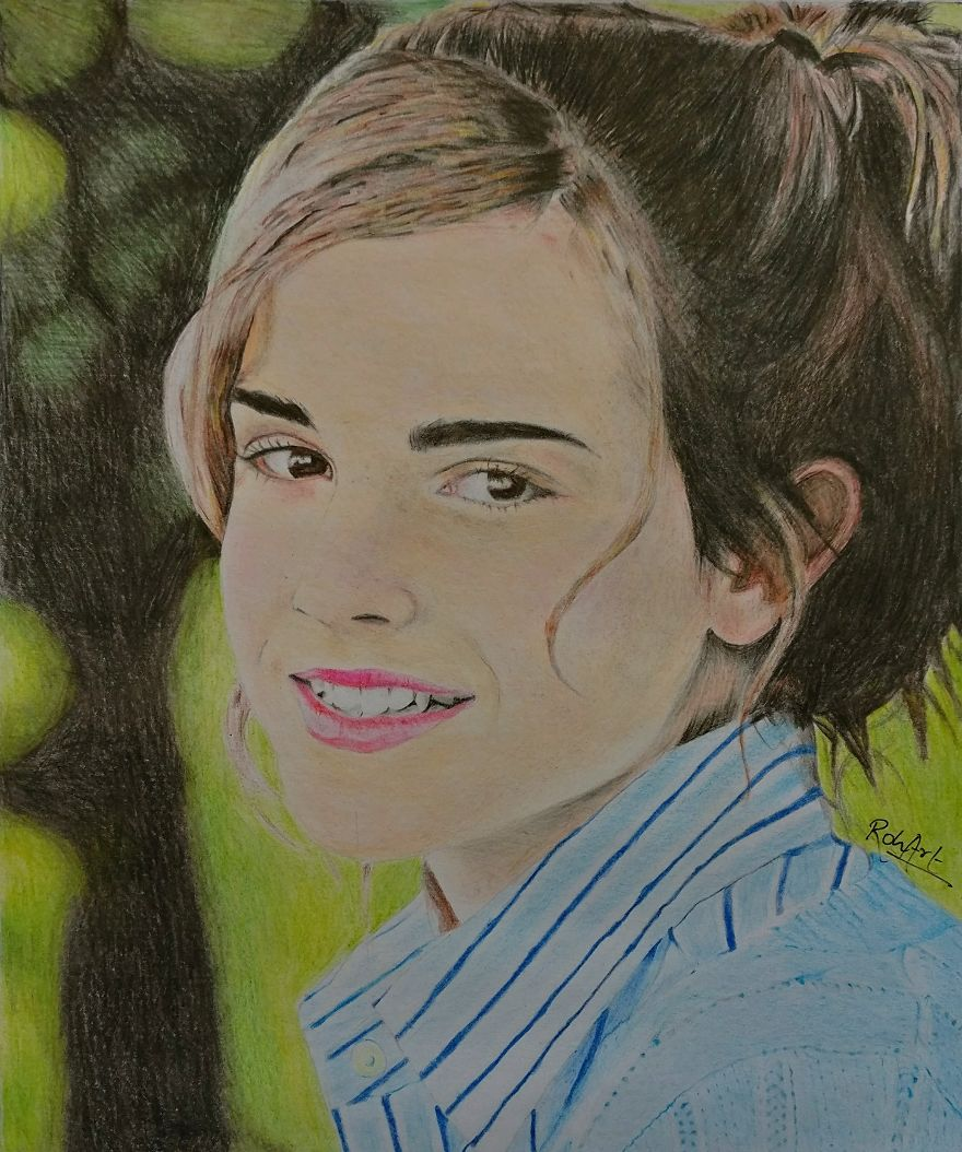 Emma watson coloured pencil sketch that took me 10 hours to complete