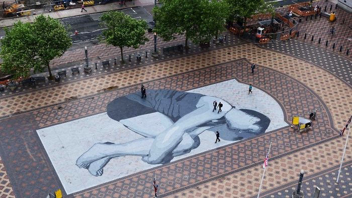 Huge Painting On The Centenary´s Square Floor In Birmingham, UK