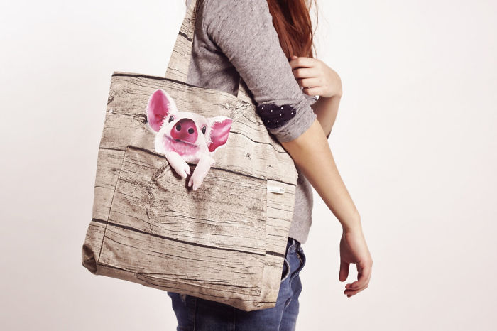 Hand Painted Shoulder Bags With Animals In A Pocket