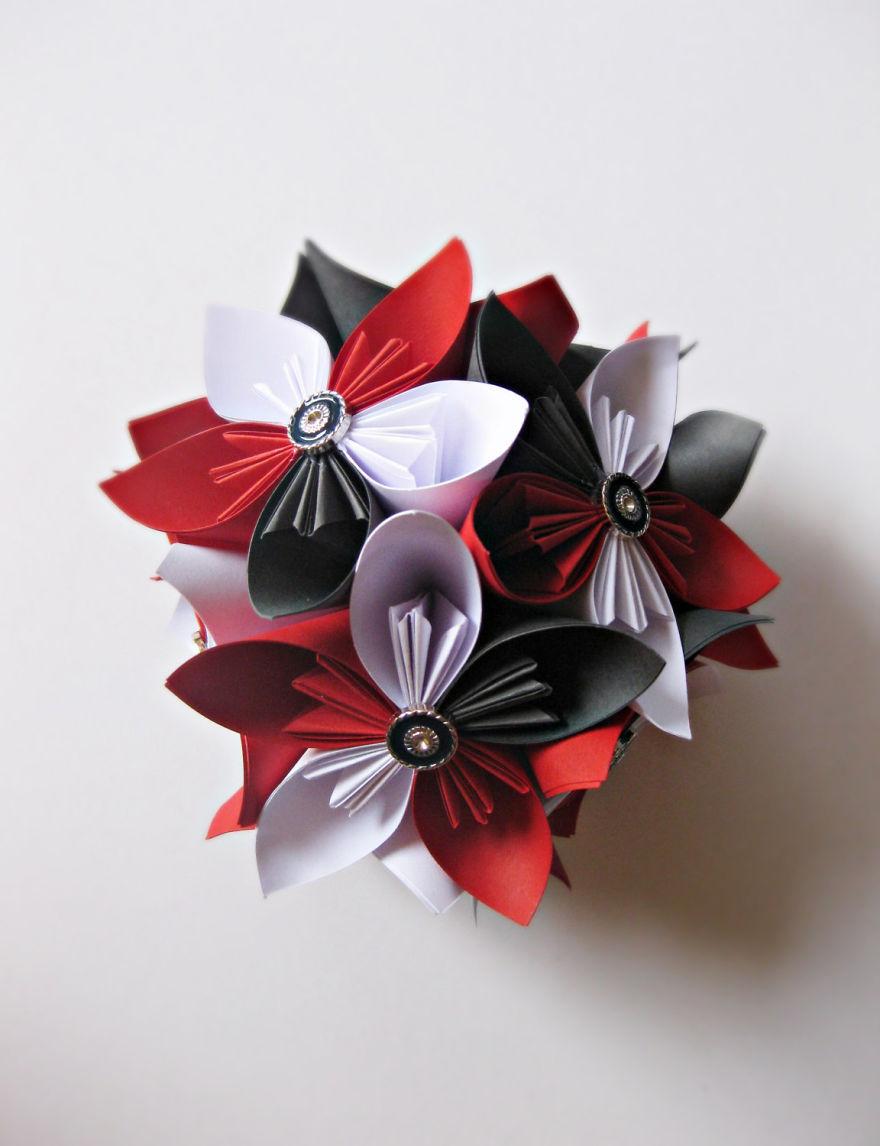 Red White And Grey Kusudama Flower Ball