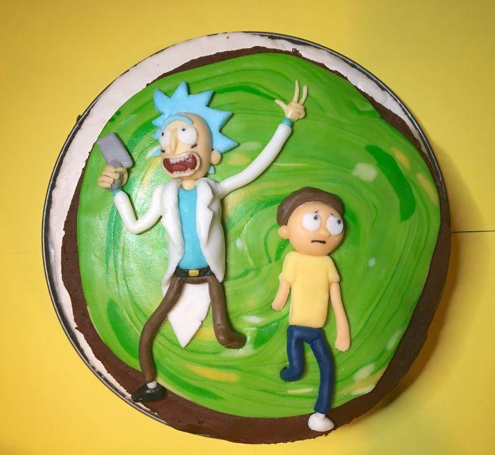 Rick & Morty Choc Fudge Cake I Made For Hubby's Birthday