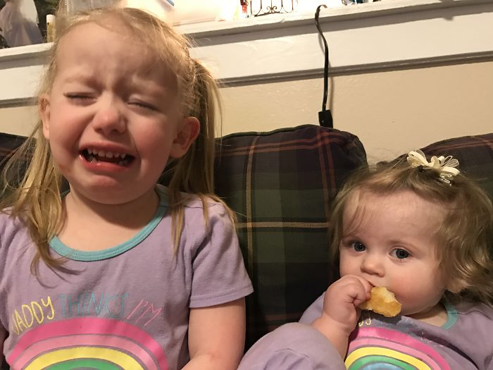 My Oldest Was Mad That Her Sister Ate Pizza With Us.