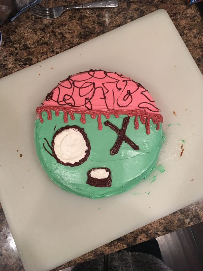 My Daughter Wanted A Zombie Cake For Her 5th Birthday So I Found Some Ideas On Pinterest And Made Her This.