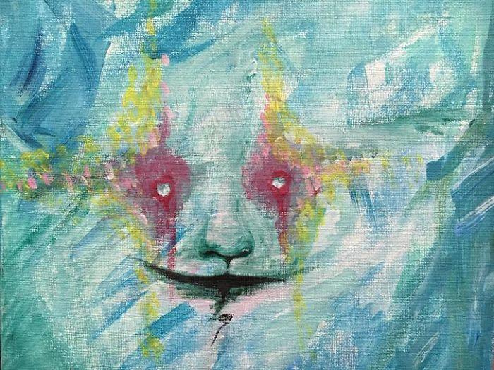 Ini adalah potret diri. Saya berkaca dan mata saya terlihat seperti ni. Saya lantas melukisnya.