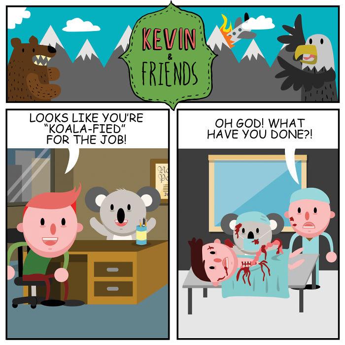 Dark Comics About A Horrible Optimist Kevin