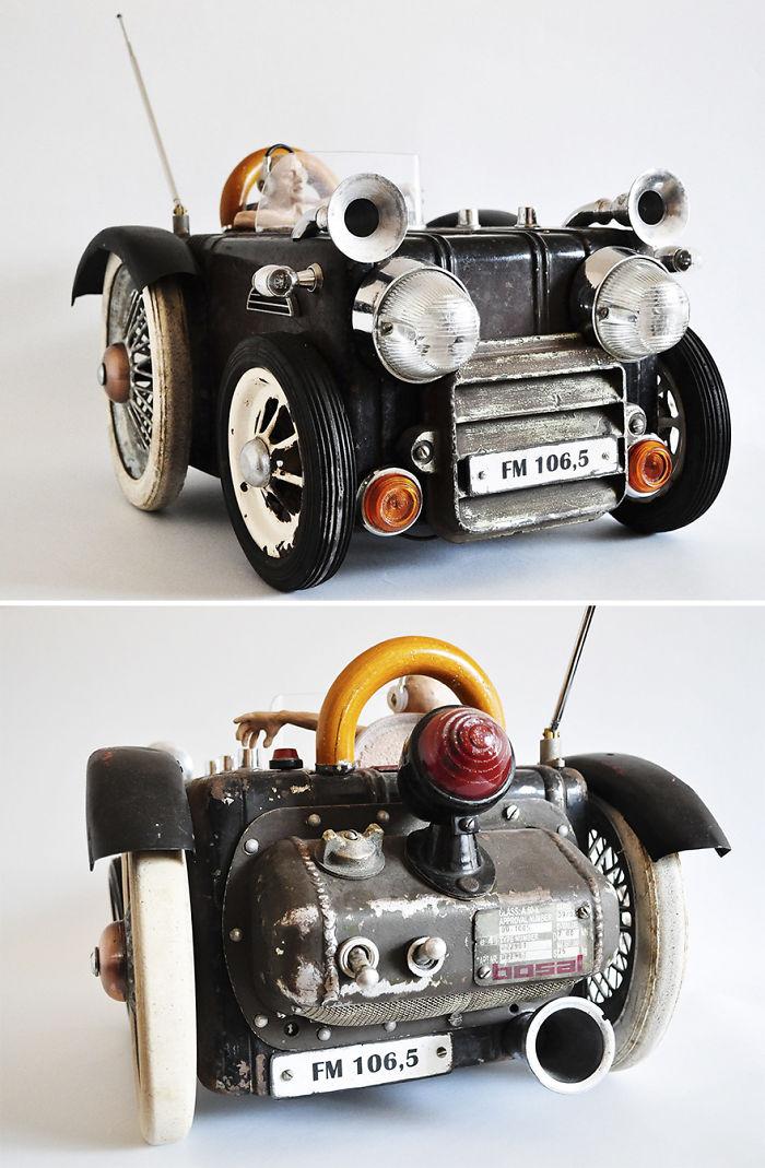 Radio en forma de coche antiguo