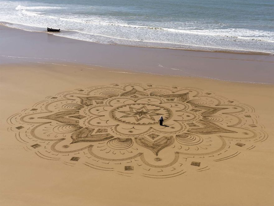 Arabic Inspired Beach Art In Marocco