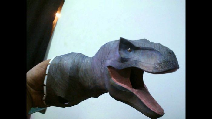 T-Rex Sculpture Made Of Out Paper