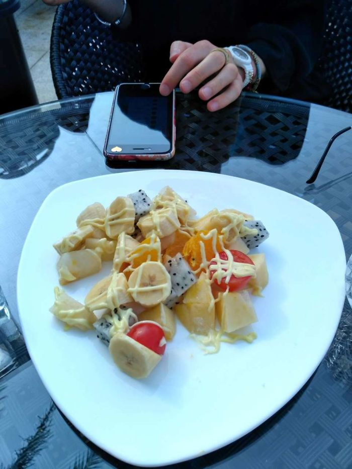 My Friend Ordered A Fruit Salad In China And Got One With Tomatoes And Mayonnaise.