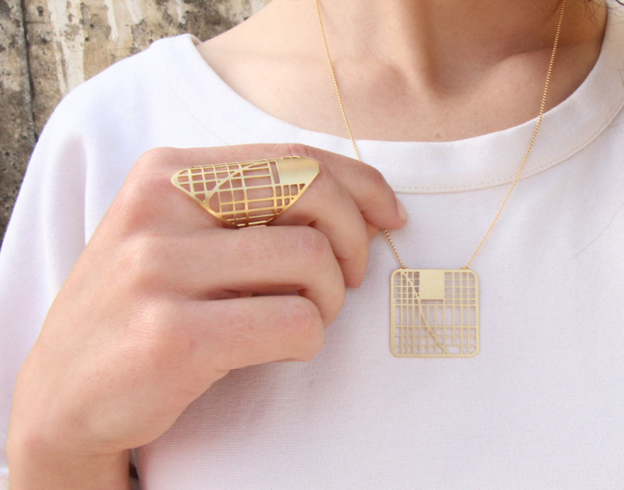 New York Map Necklace And Ring