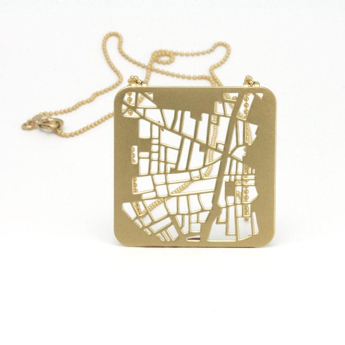 Barcelona Map Geometric Necklace