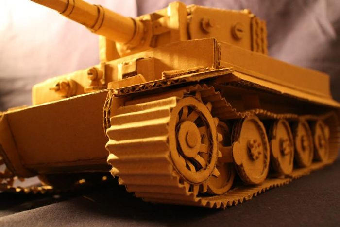 japanese cardboard artist turns old amazon boxes into tanks food