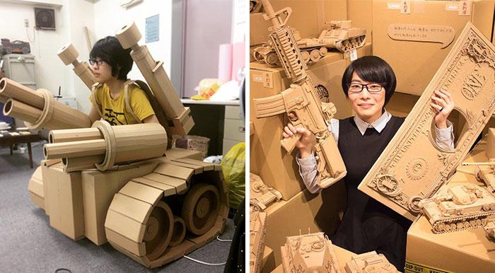 Esta artista japonesa transforma las cajas viejas en tanques, comida y otras esculturas increíbles
