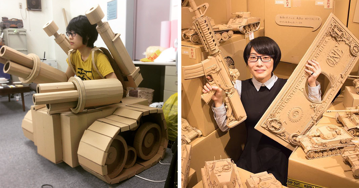 japanese cardboard artist turns old amazon boxes into tanks food and other incredible. Black Bedroom Furniture Sets. Home Design Ideas