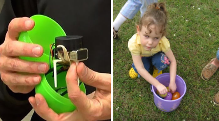 Este padre hizo huevos de Pascua con sonido para que su hija ciega pudiera buscarlos