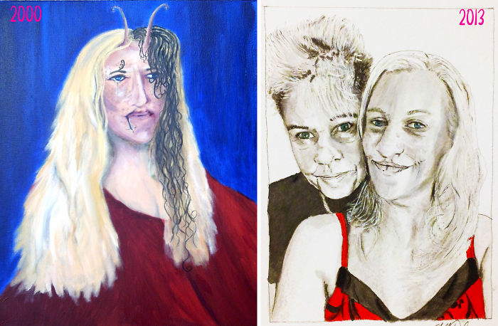 Self Portrait In 2000 And 2013 – 13 Years Difference. When I First Became An Artist And Years Later As A Professional Practicing Artist. Www.chelledestefano.com