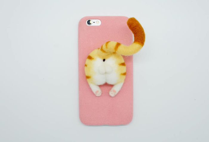 Needle Felted Cat Butt Phone Case, Yellow Tabby Cat