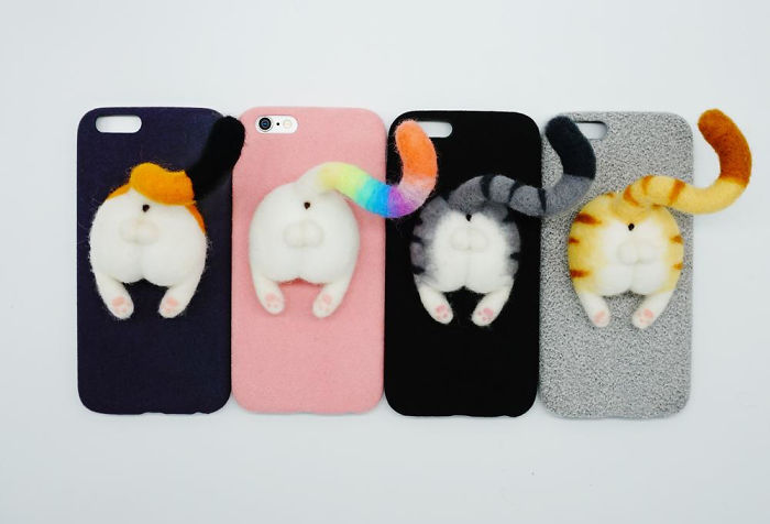 Needle Felted Cat Butt Phone Cases
