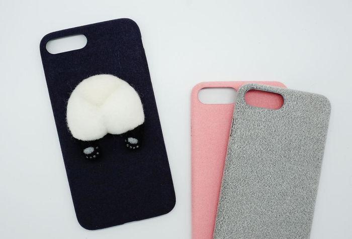 Needle Felted Panda Butt Phone Case