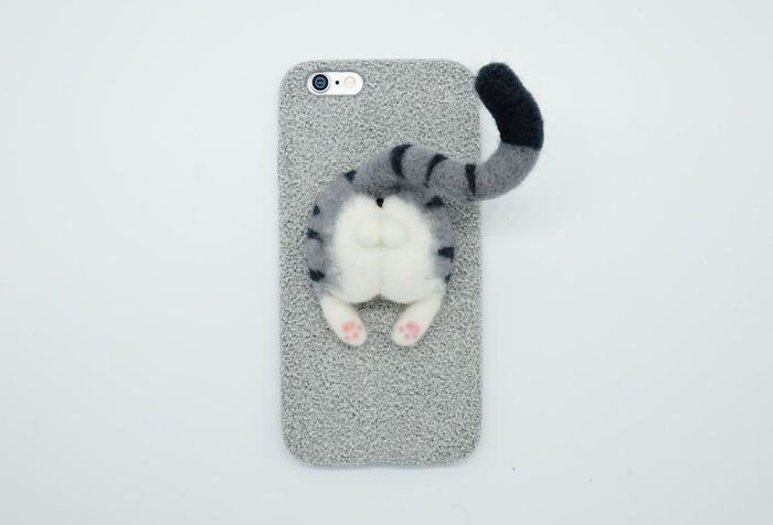 Needle Felted Cat Butt Phone Case, Gray Tabby Cat