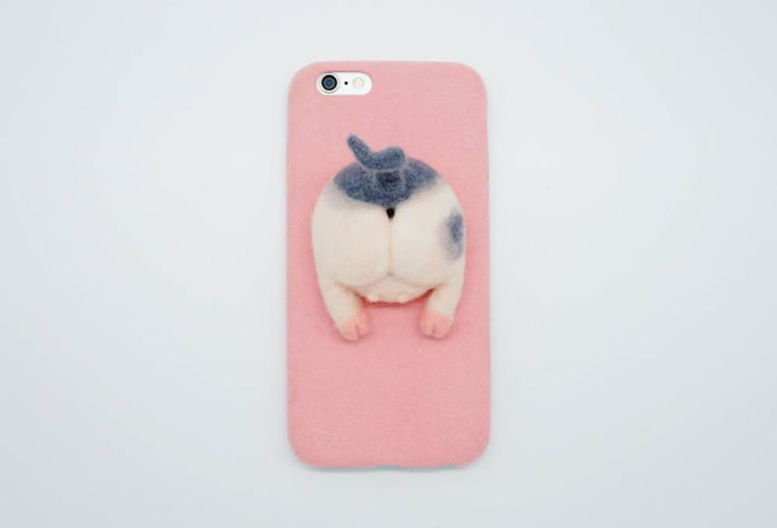 Needle Felted Pig Butt Phone Case