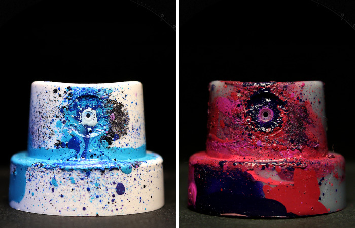 Ultra Macro Photos Of Graffiti Spray Caps That Were Used To Paint Cosmic Murals