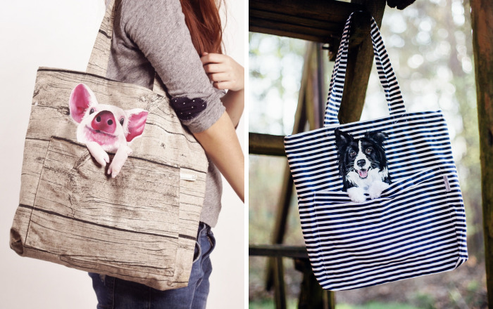 Forever Together: Hand-Painted Shoulder Bags With Animals In A Pocket