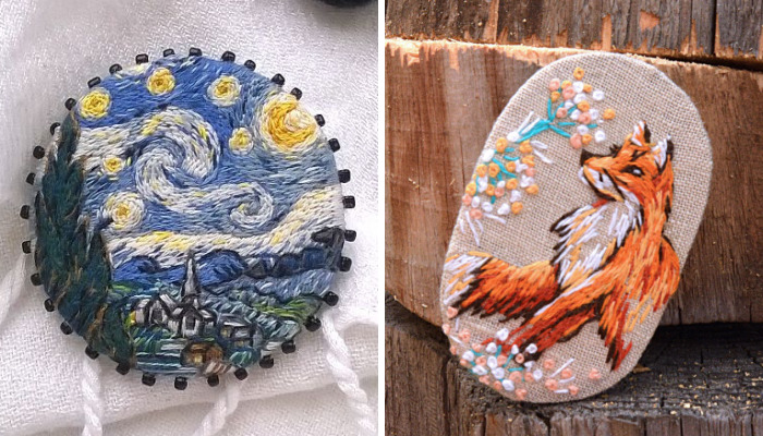 Russian Artist Anna Fedorenko Creates Tiny Replicas Of Paintings Using Embroidery