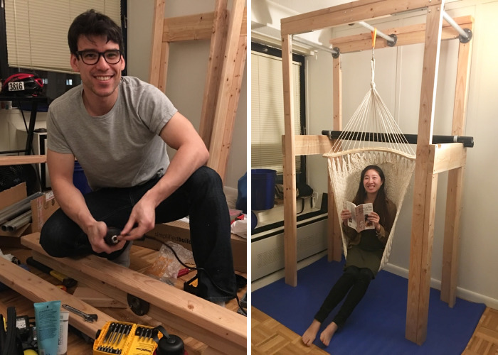 My Bf Built A Hammock Stand With Pullup & Dip Bars In His Nyc Apartment