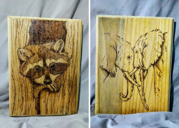 I Hand-Burn Images Into Forgotten Wood